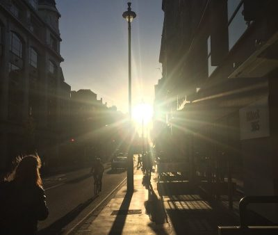 Setting sun in London